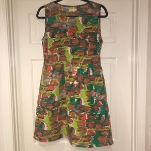 Tulle Abstract Print Dress with Pockets